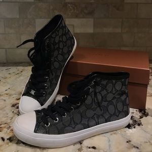 Black Signature Coach high top sneakers